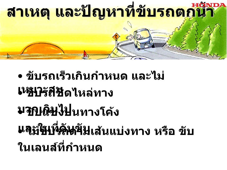 สาเหตุ และปัญหาที่ขับรถตกน้ำ สาเหตุ และปัญหาที่ขับรถตกน้ำ ขับรถชิดไหล่ทาง มากเกินไป ขับรถเร็วเกินกำหนด และไม่ เหมาะสม ไม่ขับรถตามเส้นแบ่งทาง หรือ ขับ