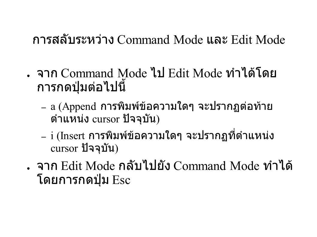 การสลับระหว่าง Command Mode และ Edit Mode ● จาก Command Mode ไป Edit Mode ทำได้โดย การกดปุ่มต่อไปนี้ – a (Append การพิมพ์ข้อความใดๆ จะปรากฏต่อท้าย ตำแ