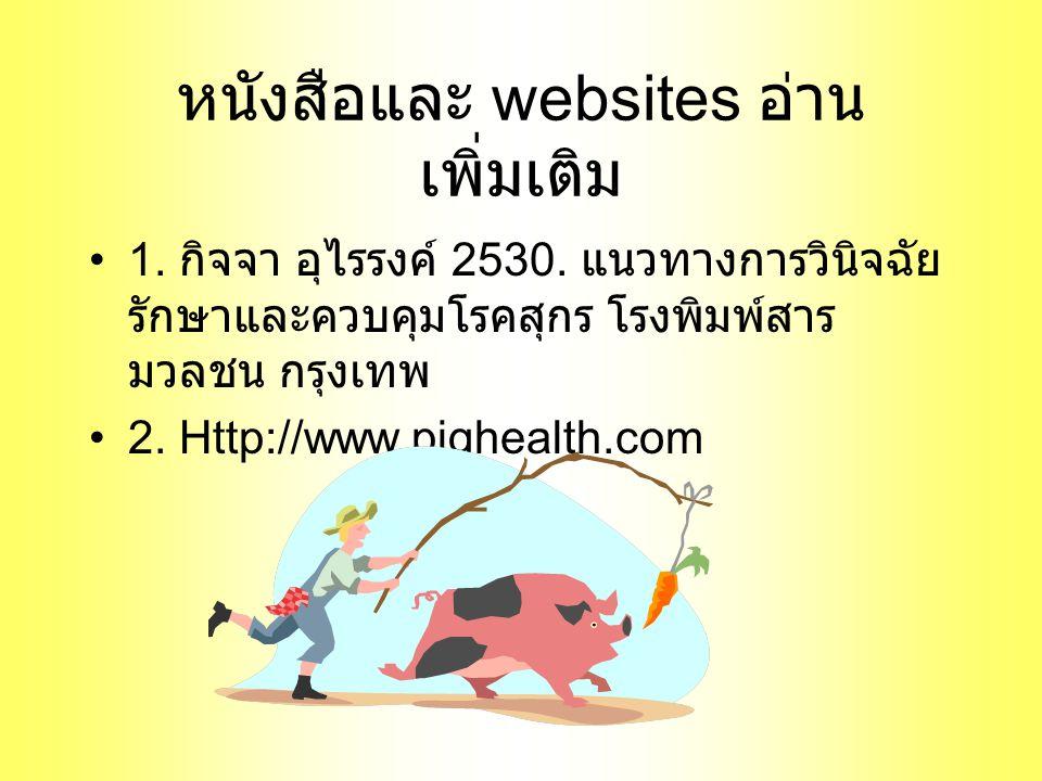 หนังสือและ websites อ่าน เพิ่มเติม 1.กิจจา อุไรรงค์ 2530.