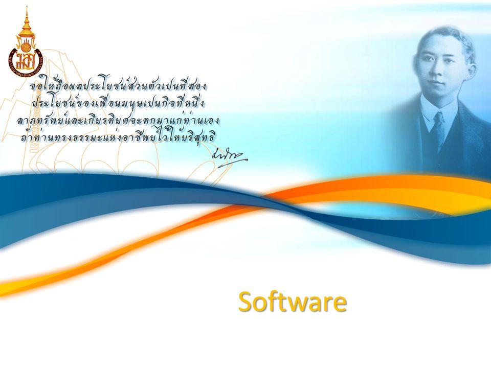 Software โปรแกรมที่เขียนขึ้นเป็นภาษาต่างๆ ตาม ข้อกำหนดของภาษานั้นๆ เพื่อให้ Hardware ของระบบคอมพิวเตอร์ สามารถทำงานได้ตามที่ เราต้องการ แบ่ง software ตามหน้าที่การทำงานดังนี้  ระบบปฏิบัติการ (OS : Operating System)  โปรแกรมแปลภาษา (Compiler and Interpreter)  โปรแกรมประยุกต์ (Application software)  โปรแกรมสำเร็จ (Package)