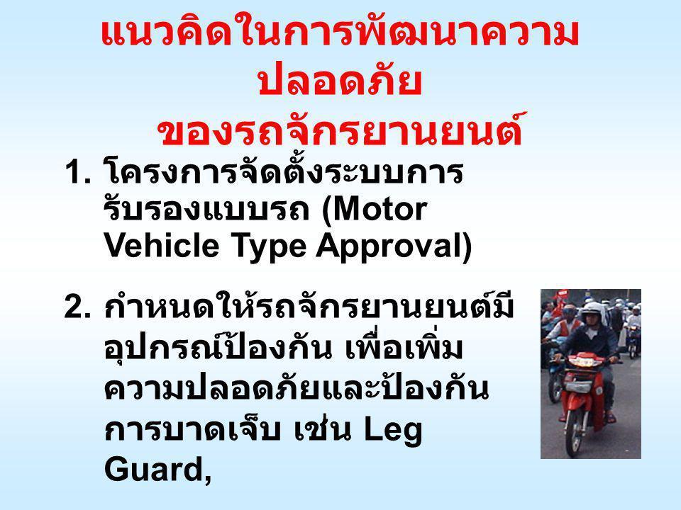 แนวคิดในการพัฒนาความ ปลอดภัย ของรถจักรยานยนต์ 1. โครงการจัดตั้งระบบการ รับรองแบบรถ (Motor Vehicle Type Approval) 2. กำหนดให้รถจักรยานยนต์มี อุปกรณ์ป้อ
