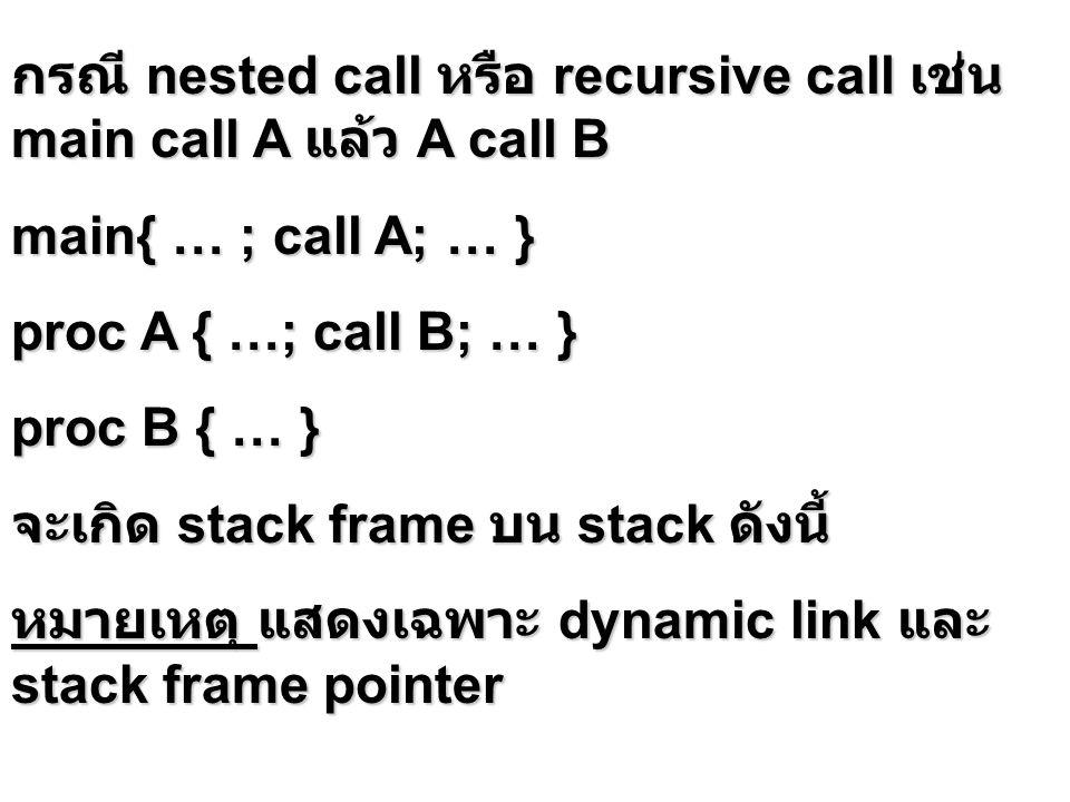 กรณี nested call หรือ recursive call เช่น main call A แล้ว A call B main{ … ; call A; … } proc A { …; call B; … } proc B { … } จะเกิด stack frame บน s