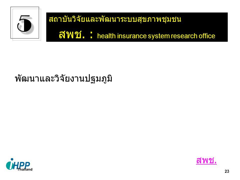 23 สถาบันวิจัยและพัฒนาระบบสุขภาพชุมชน สพช. : health insurance system research office 55 พัฒนาและวิจัยงานปฐมภูมิ สพช.