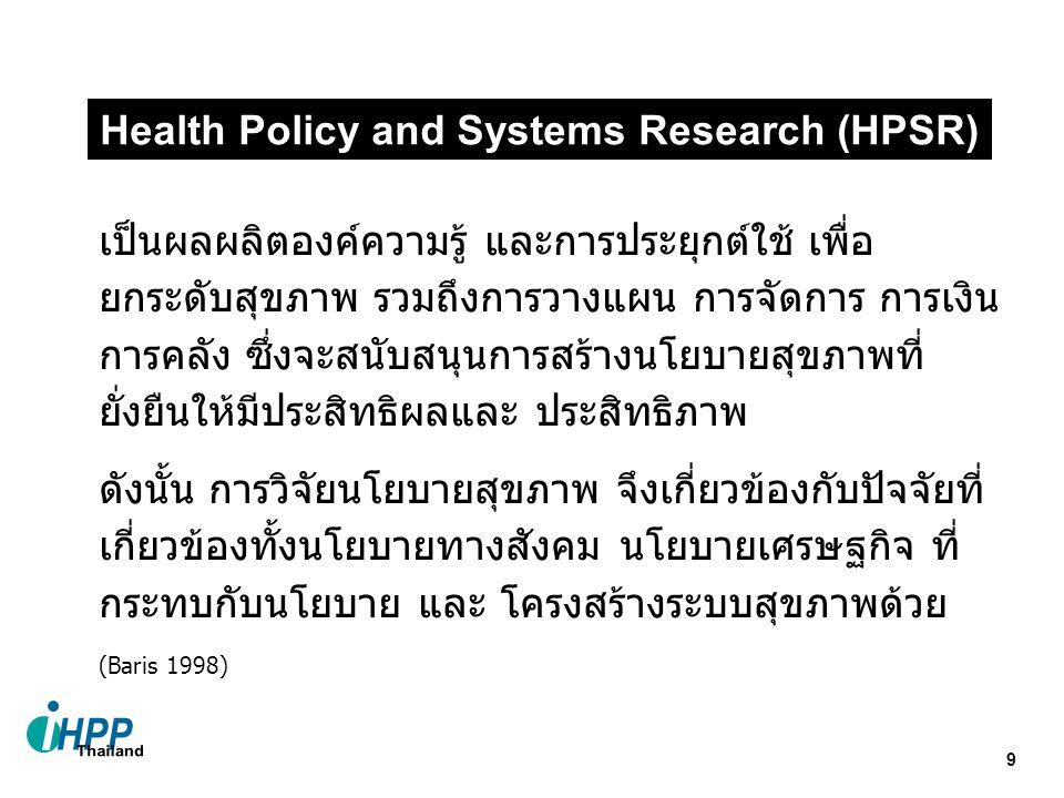 9 เป็นผลผลิตองค์ความรู้ และการประยุกต์ใช้ เพื่อ ยกระดับสุขภาพ รวมถึงการวางแผน การจัดการ การเงิน การคลัง ซึ่งจะสนับสนุนการสร้างนโยบายสุขภาพที่ ยั่งยืนให้มีประสิทธิผลและ ประสิทธิภาพ ดังนั้น การวิจัยนโยบายสุขภาพ จึงเกี่ยวข้องกับปัจจัยที่ เกี่ยวข้องทั้งนโยบายทางสังคม นโยบายเศรษฐกิจ ที่ กระทบกับนโยบาย และ โครงสร้างระบบสุขภาพด้วย (Baris 1998) Health Policy and Systems Research (HPSR)