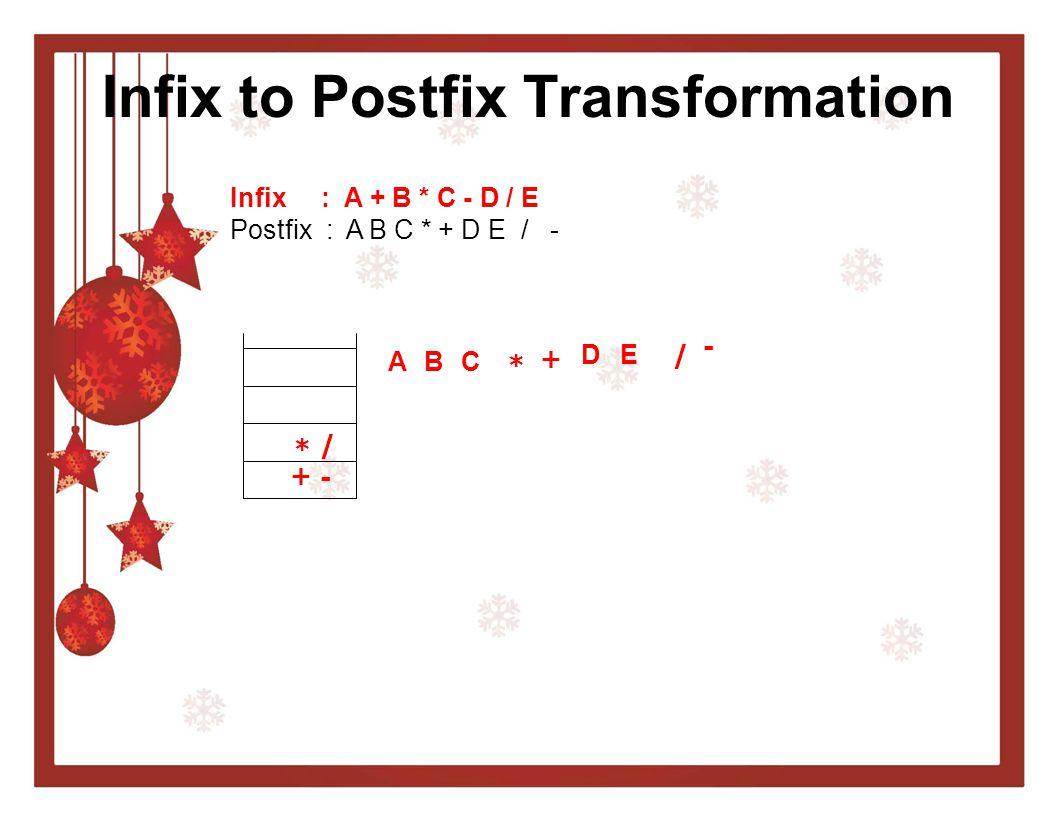 Infix to Postfix Transformation Infix : A + B * C - D / E Postfix : A B C * + D E / - A + B * C * + - D / E/ -