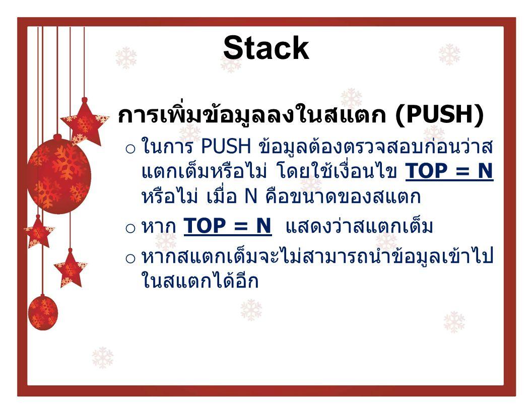 Stack PUSH ALGORITHM Push(stack,max,top,item) if(max=top) write Full Stack else top ← top + 1 stack[top] = item หมายเหตุ : stack คือ ชื่ออาเรย์ที่ใช้เก็บ ข้อมูลในสแตก max คือ ขนาดของสแตก top ใช้เก็บตำแหน่งบนสุด ของสแตก Item แทนข้อมูลที่ต้องการ push ลงในสแตก