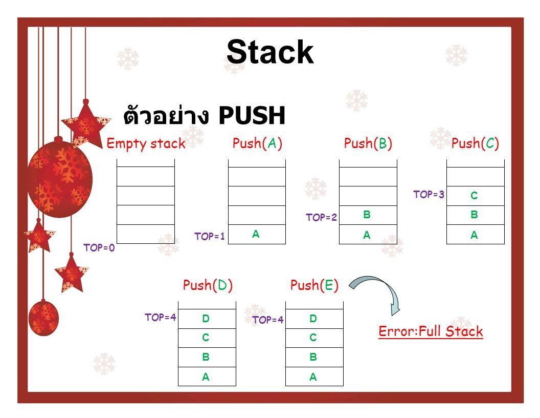 Stack การดึงข้อมูลออกจากสแตก (POP) o ในการ POP ข้อมูลต้องตรวจสอบก่อนว่ามี ข้อมูลอยู่ในสแตกหรือไม่ โดยใช้เงื่อนไข TOP = 0 o หาก TOP = 0 แสดงว่าสแตกว่างเปล่า o หากสแตกว่างเปล่าจะไม่สามารถดึงข้อมูล ออกจากสแตกได้