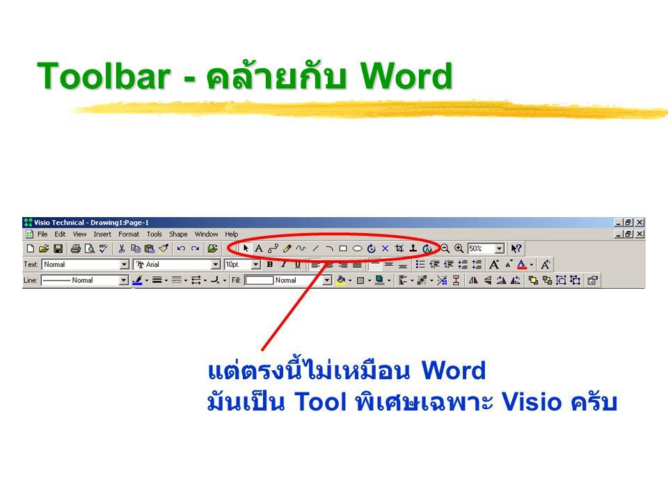 Tool ต่างๆ Pointer Tool - ใช้สำหรับจัดการ Object ทั่วไป Text Tool - ใช้สำหรับจัดการเกี่ยวกับข้อความและตัวอักษร Connection Tool - ใช้สำหรับจัดการการเชื่อมต่อระหว่าง Block Pencil Tool - ใช้วาดเส้นทั่วไป ( เส้นตรง ) Freeform Tool - ใช้วาดเส้นทั่วไป (freehand) Line Tool - ใช้สำหรับจัดการเส้น ( เส้นตรง ) Arc Tool - ใช้สำหรับจัดการเส้น (freehand)