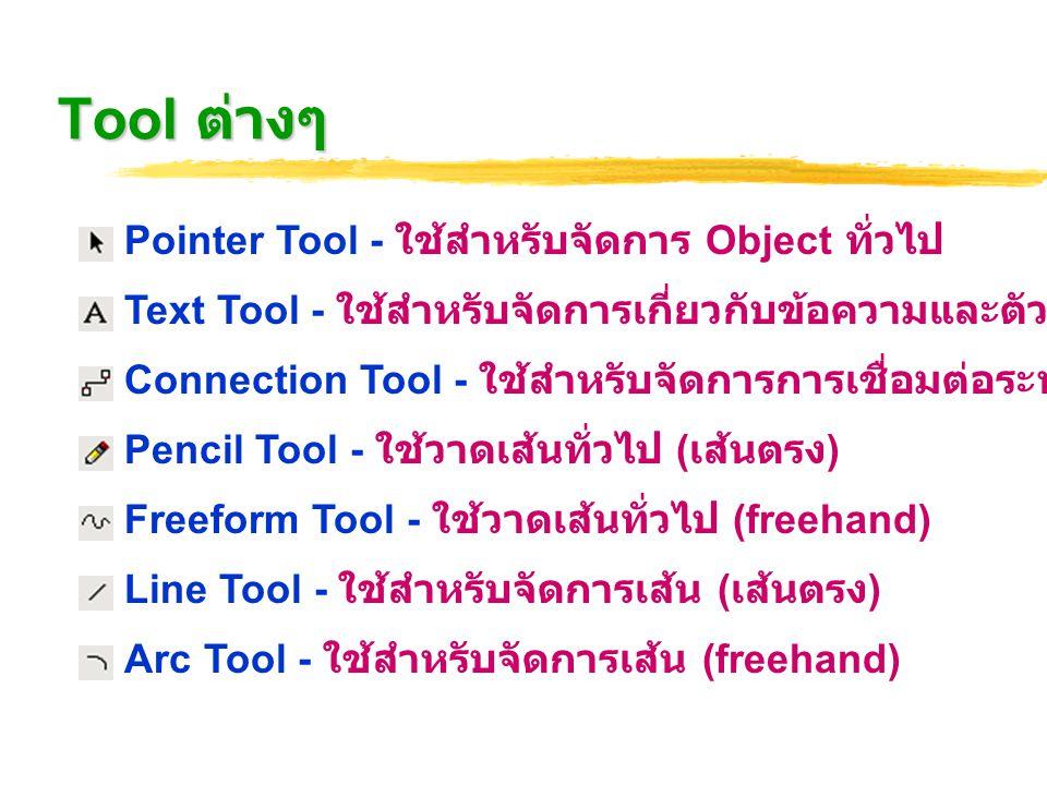 Tool ต่างๆ Rectangular Tool - ใช้สำหรับวาด Block รูปสี่เหลี่ยม Ellipse Tool - ใช้สำหรับวาด Block รูปวงรี / วงกลม Rotation Tool - ใช้สำหรับหมุน Object Connection Point Tool - ใช้สำหรับจัดการจุดเชื่อมต่อ Crop Tool - ใช้สำหรับการตัด Object Stamp Tool - ใช้ร่วมกับ Stencil ในลักษณะการ Copy+Paste หลายๆรูป Text Block Tool - ใช้สำหรับจัดการ Text Block