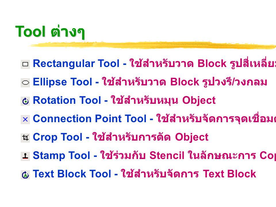 Tool ต่างๆ Rectangular Tool - ใช้สำหรับวาด Block รูปสี่เหลี่ยม Ellipse Tool - ใช้สำหรับวาด Block รูปวงรี / วงกลม Rotation Tool - ใช้สำหรับหมุน Object