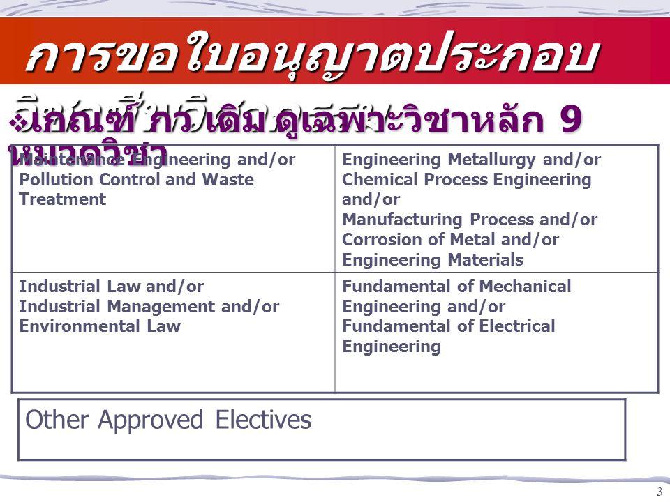 3 การขอใบอนุญาตประกอบ วิชาชีพวิศวกรรม การขอใบอนุญาตประกอบ วิชาชีพวิศวกรรม  เกณฑ์ กว เดิมดูเฉพาะวิชาหลัก 9 หมวดวิชา Maintenance Engineering and/or Pol