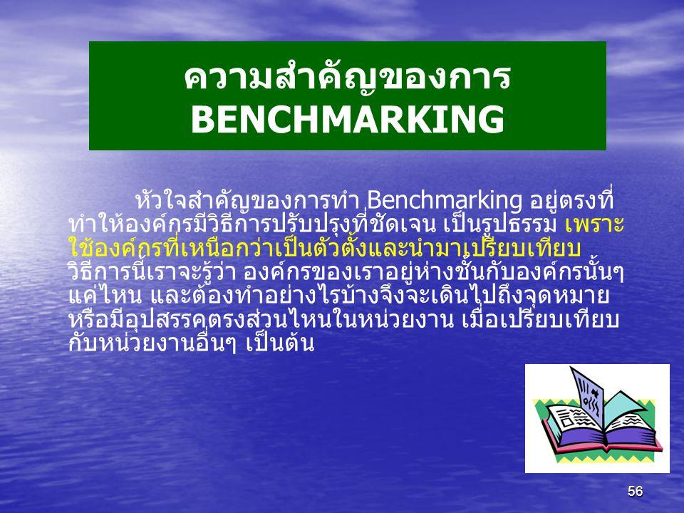 56 ความสำคัญของการ BENCHMARKING หัวใจสำคัญของการทำ Benchmarking อยู่ตรงที่ ทำให้องค์กรมีวิธีการปรับปรุงที่ชัดเจน เป็นรูปธรรม เพราะ ใช้องค์กรที่เหนือกว