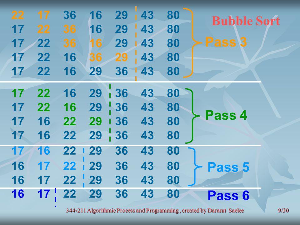 9/30 Bubble Sort 22 17 36 16 29 43 80 17 22 36 16 29 43 80 17 22 16 36 29 43 80 17 22 16 29 36 43 80 17 16 22 29 36 43 80 16 17 22 29 36 43 80 Pass 3