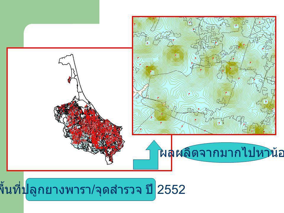 พื้นที่ปลูกยางพารา / จุดสำรวจ ปี 2552 ผลผลิตจากมากไปหาน้อย