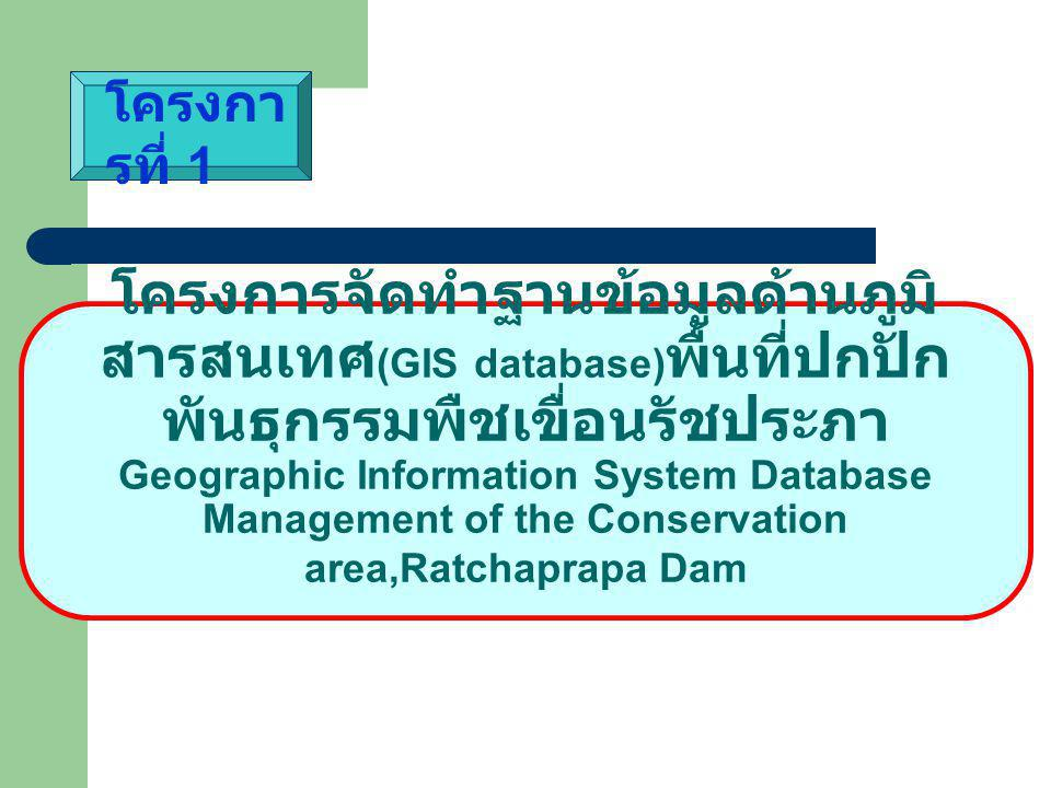 โครงการจัดทำฐานข้อมูลด้านภูมิ สารสนเทศ (GIS database) พื้นที่ปกปัก พันธุกรรมพืชเขื่อนรัชประภา Geographic Information System Database Management of the