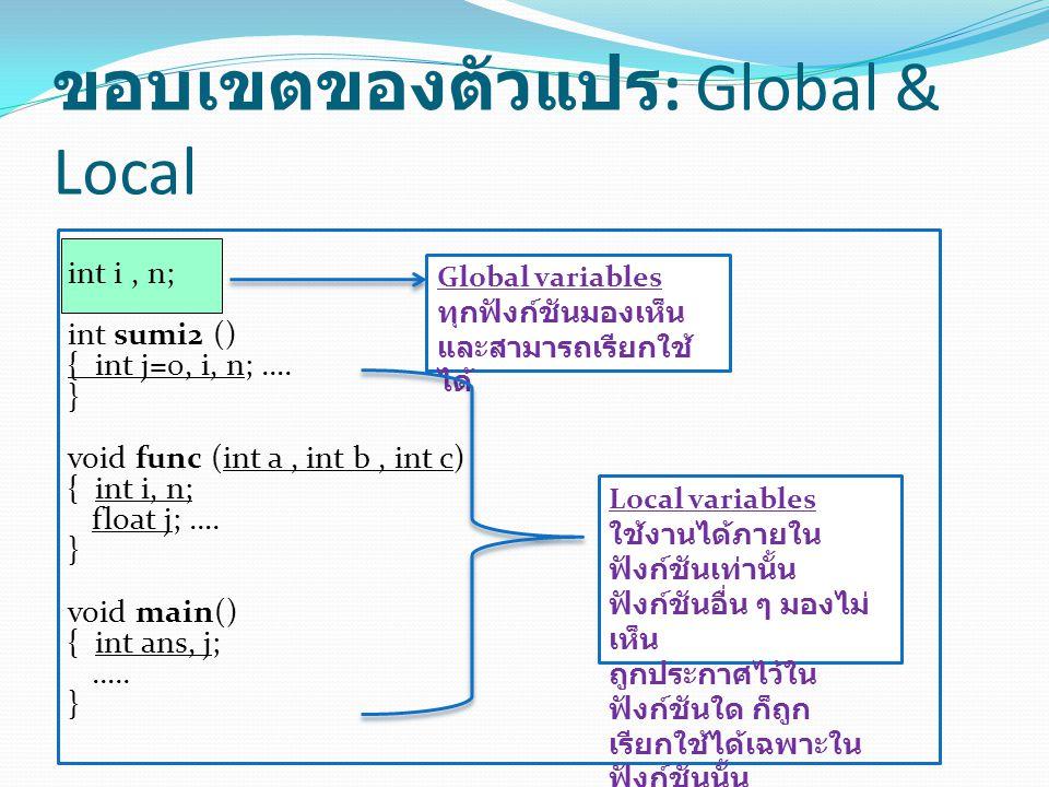 ขอบเขตของตัวแปร : Global & Local int i, n; int sumi2 () { int j=0, i, n; ….