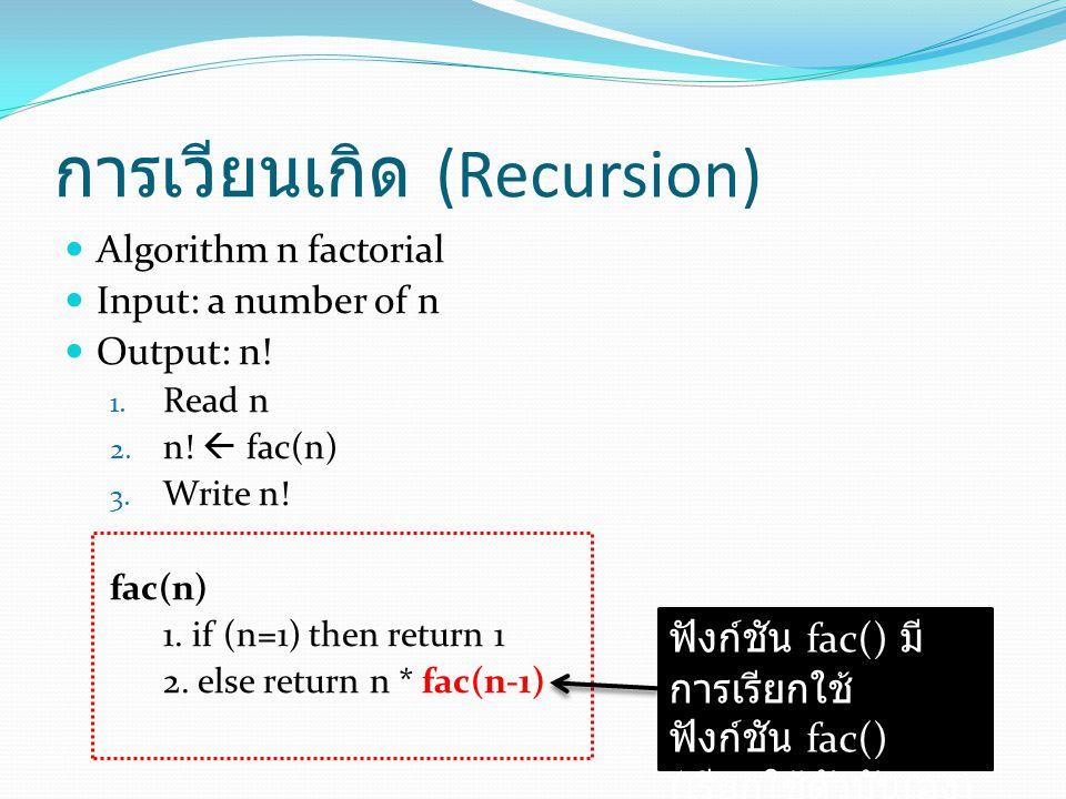 การเวียนเกิด (Recursion) Algorithm n factorial Input: a number of n Output: n.