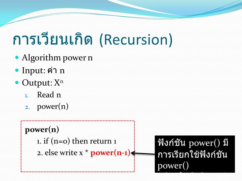 การเวียนเกิด (Recursion) Algorithm power n Input: ค่า n Output: X n 1.