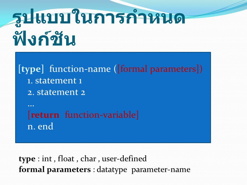 ตัวอย่างการกำหนด ฟังก์ชันในภาษาซี กรณีที่ 1 ไม่มีพารามิเตอร์ และไม่มีการ ส่งค่ากลับ void prn () { int i; for(i=1;i<=15;i++) printf( * ); printf( \n ); }