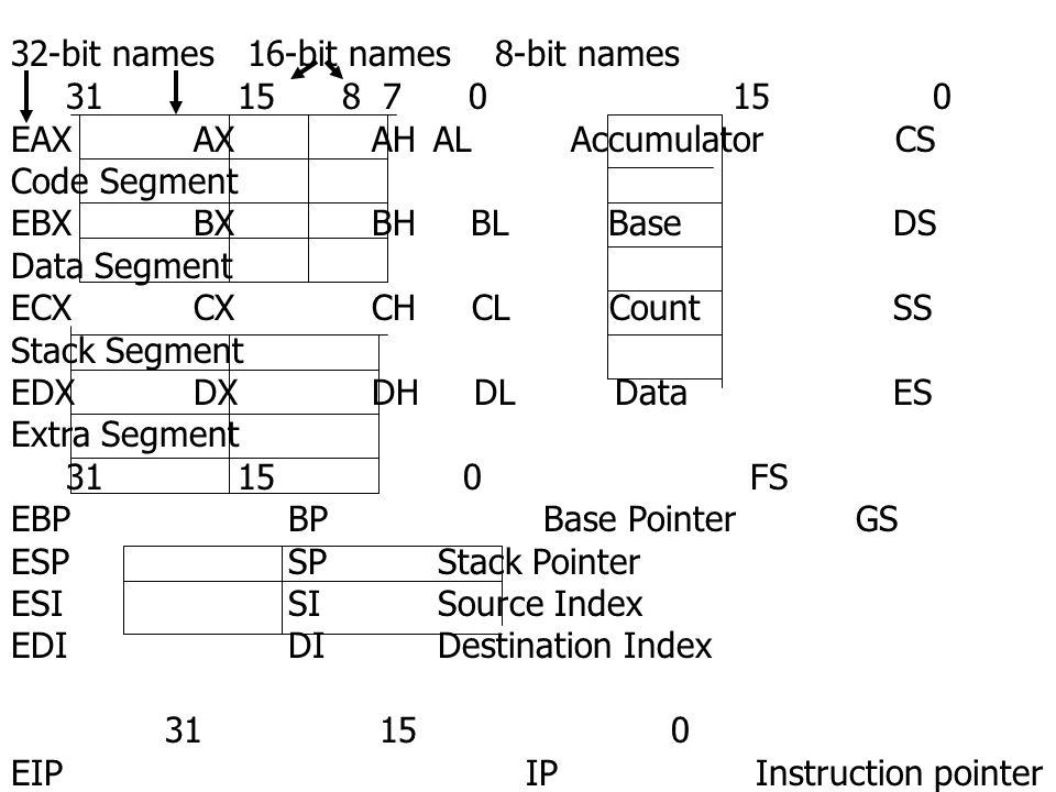 32-bit names 16-bit names 8-bit names 31 15 8 7 0 15 0 EAX AX AHAL Accumulator CS Code Segment EBX BX BH BL Base DS Data Segment ECX CX CH CL Count SS