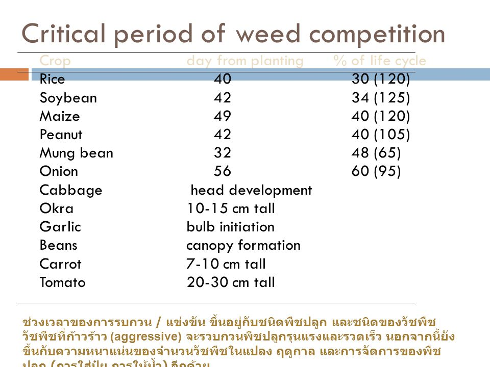 Critical period of weed competition Cropday from planting% of life cycle Rice 40 30 (120) Soybean 42 34 (125) Maize 49 40 (120) Peanut 42 40 (105) Mun