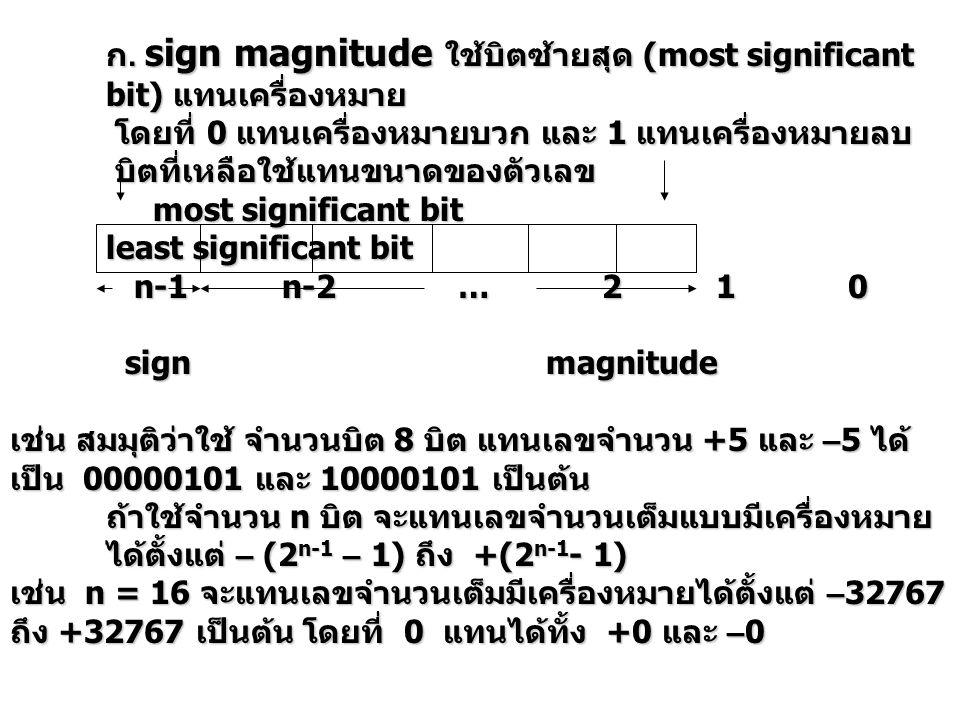 ก. sign magnitude ใช้บิตซ้ายสุด (most significant bit) แทนเครื่องหมาย โดยที่ 0 แทนเครื่องหมายบวก และ 1 แทนเครื่องหมายลบ โดยที่ 0 แทนเครื่องหมายบวก และ