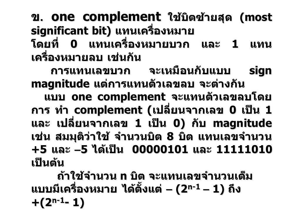ข. one complement ใช้บิตซ้ายสุด (most significant bit) แทนเครื่องหมาย โดยที่ 0 แทนเครื่องหมายบวก และ 1 แทน เครื่องหมายลบ เช่นกัน การแทนเลขบวก จะเหมือน