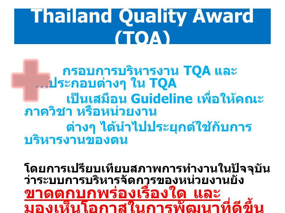 Thailand Quality Award (TQA) กรอบการบริหารงาน TQA และ องค์ประกอบต่างๆ ใน TQA เป็นเสมือน Guideline เพื่อให้คณะ ภาควิชา หรือหน่วยงาน ต่างๆ ได้นำไปประยุก