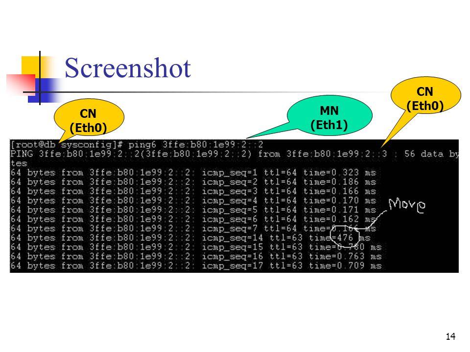 14 Screenshot MN (Eth1) CN (Eth0) CN (Eth0)