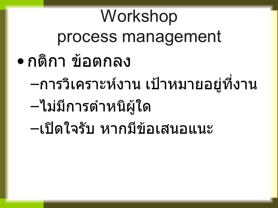 Workshop process management กติกา ข้อตกลง – การวิเคราะห์งาน เป้าหมายอยู่ที่งาน – ไม่มีการตำหนิผู้ใด – เปิดใจรับ หากมีข้อเสนอแนะ