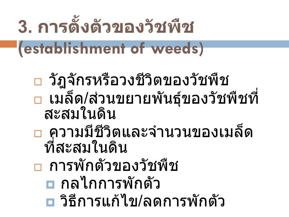 3. การตั้งตัวของวัชพืช (establishment of weeds)  วัฎจักรหรือวงชีวิตของวัชพืช  เมล็ด / ส่วนขยายพันธุ์ของวัชพืชที่ สะสมในดิน  ความมีชีวิตและจำนวนของเ