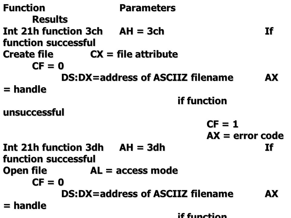 Int 21h function 3fhAH = 3fhIf function successful Read fileBX = handleCF = 0 CX = number of bytesAX = bytes transferred DS:DX=buffer addressif function unsuccessful CF = 1 AX = error code Int 21h function 40hAH = 40hIf function successful Write fileBX = handleCF = 0 CX = number of bytesAX = bytes transferred DS:DX=buffer addressif function unsuccessful CF = 1 AX = error code