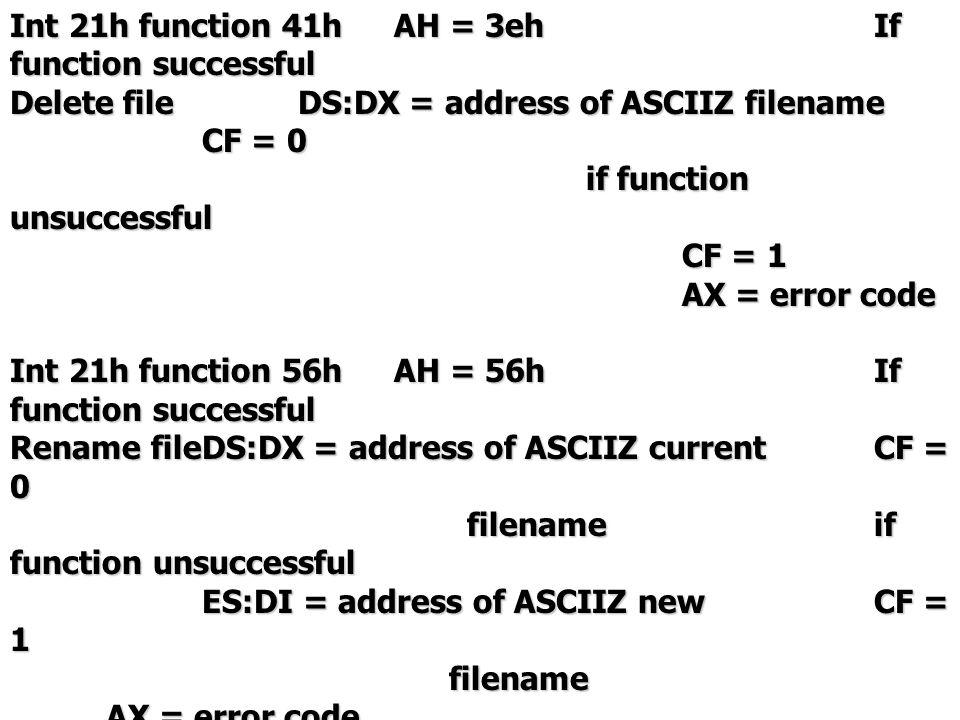- หมายเหตุ ASCIIZ คือ string ที่สิ้นสุดด้วย 0 เช่น file_name db 'test.dat',0 -file attribute bitvalue(hex)meaning 76543210 76543210 00000000 0normal 00000000 0normal 000000011Read-only 000000011Read-only 000000102Hidden 000001004System 000010008Volume label 00010000 10 Subdirectory 00100000 20Archive 01000000 40Unused 10000000 80Unused -access mode 20hRead (only) access 40hRead or write access