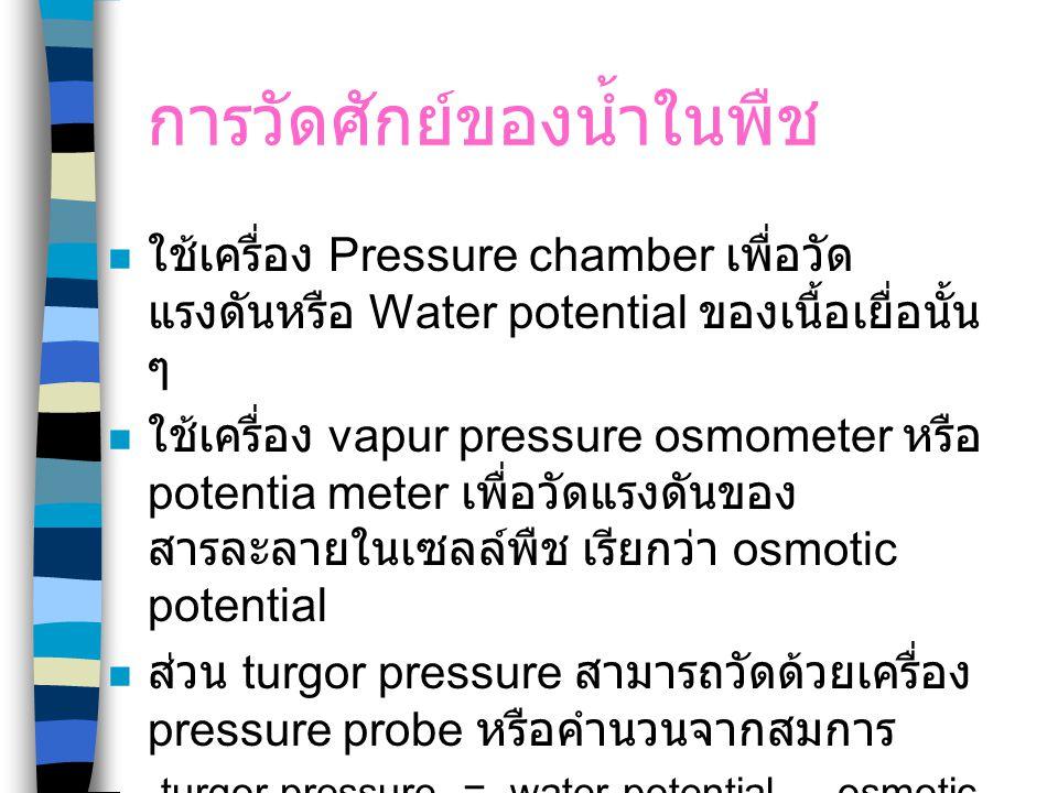 การวัดศักย์ของน้ำในพืช ใช้เครื่อง Pressure chamber เพื่อวัด แรงดันหรือ Water potential ของเนื้อเยื่อนั้น ๆ ใช้เครื่อง vapur pressure osmometer หรือ po