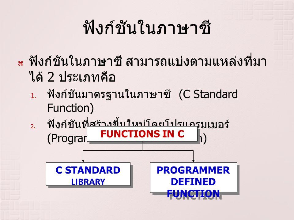 ฟังก์ชันในภาษาซี  ฟังก์ชันในภาษาซี สามารถแบ่งตามแหล่งที่มา ได้ 2 ประเภทคือ 1. ฟังก์ชันมาตรฐานในภาษาซี (C Standard Function) 2. ฟังก์ชันที่สร้างขึ้นให