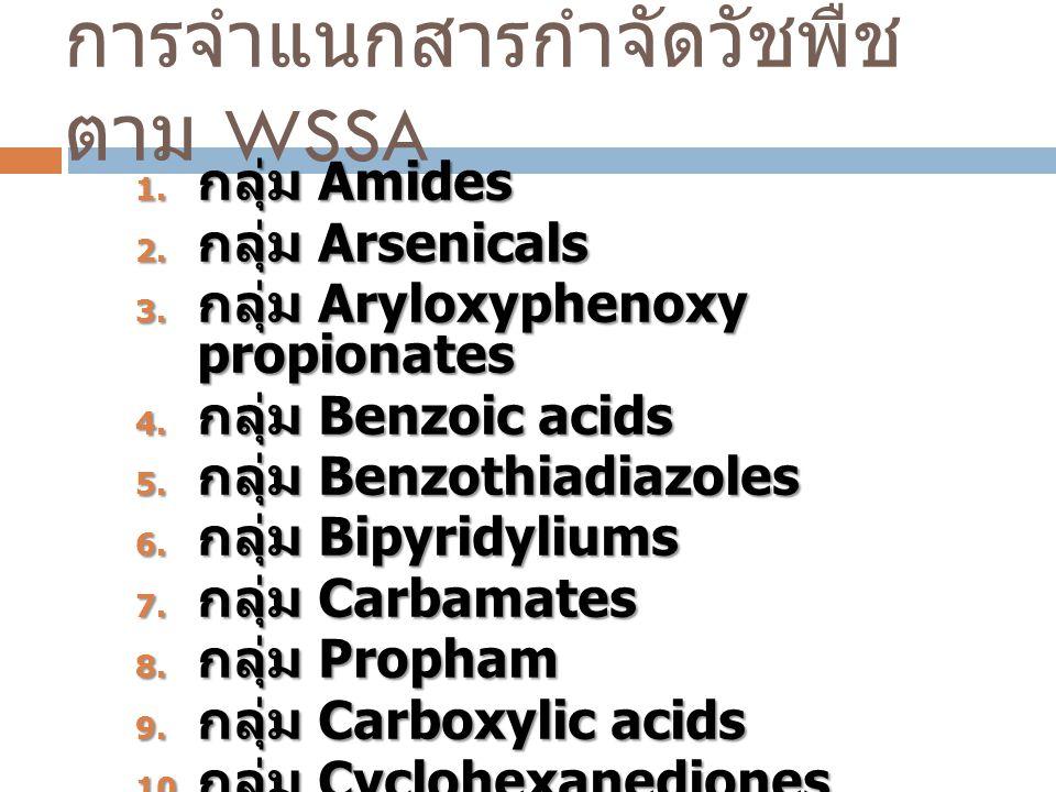การจำแนกสารกำจัดวัชพืช ตาม WSSA 1. กลุ่ม Amides 2. กลุ่ม Arsenicals 3. กลุ่ม Aryloxyphenoxy propionates 4. กลุ่ม Benzoic acids 5. กลุ่ม Benzothiadiazo