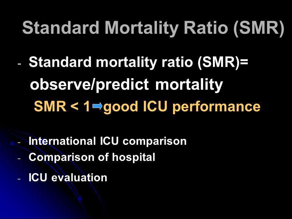 Standard Mortality Ratio (SMR) - - Standard mortality ratio (SMR)= observe/predict mortality SMR < 1 good ICU performance - - International ICU comparison - - Comparison of hospital - - ICU evaluation