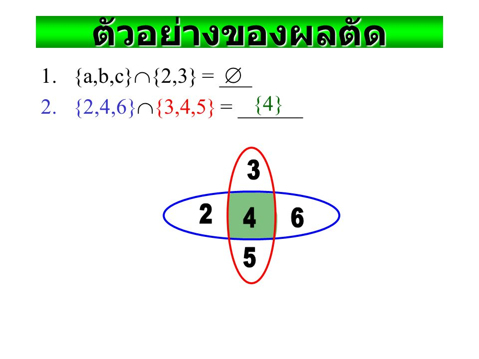 "ผลตัด (Intersection Operator) Def. For sets A, B, their intersection A  B is the set containing all elements that are simultaneously in A and (""  "")"
