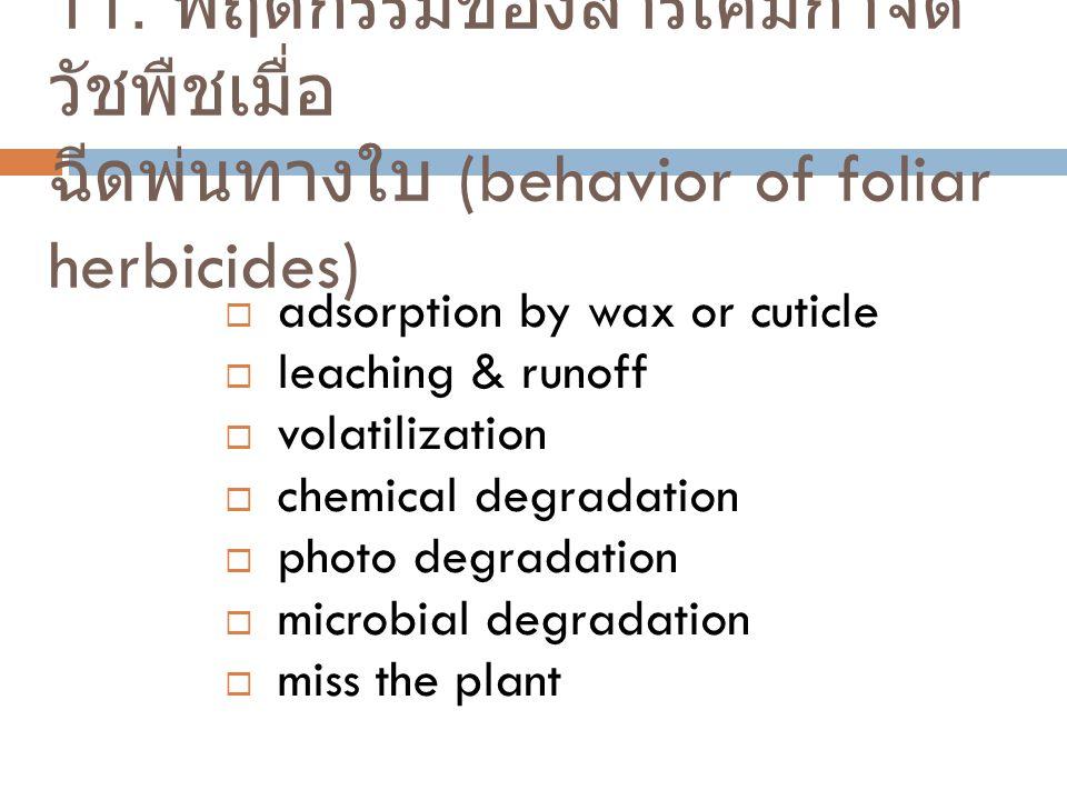 11. พฤติกรรมของสารเคมีกำจัด วัชพืชเมื่อ ฉีดพ่นทางใบ (behavior of foliar herbicides)  adsorption by wax or cuticle  leaching & runoff  volatilizatio
