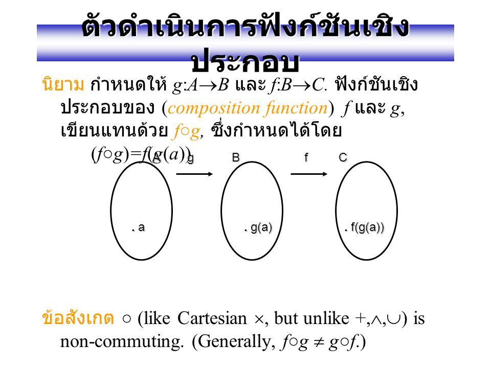 """ตัวอย่างของตัวดำเนินการ ฟังก์ชัน ,× (""""plus"""",""""times"""") เป็นตัวดำเนินการไบนารี่ บนเซตจำนวนจริง ℝ. (Normal addition & multiplication.) ทั้งสองตัวดำเนินทำ"""