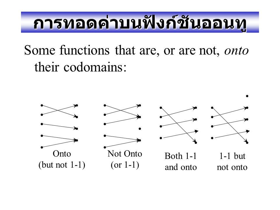 ฟังก์ชันออนทู (Onto or Surjective) Def. A function f:A  B is onto or surjective or a surjection iff its range is equal to its codomain (  b  B,  a