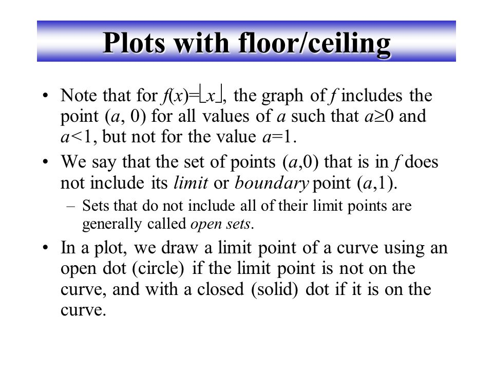 "Visualizing Floor & Ceiling Real numbers ""fall to their floor"" or ""rise to their ceiling."" Note that if x  Z,  x     x  &  x     x  Not"