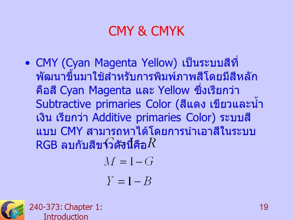 240-373: Chapter 1: Introduction 19 CMY & CMYK CMY (Cyan Magenta Yellow) เป็นระบบสีที่ พัฒนาขึ้นมาใช้สำหรับการพิมพ์ภาพสีโดยมีสีหลัก คือสี Cyan Magenta และ Yellow ซึ่งเรียกว่า Subtractive primaries Color ( สีแดง เขียวและน้ำ เงิน เรียกว่า Additive primaries Color) ระบบสี แบบ CMY สามารถหาได้โดยการนำเอาสีในระบบ RGB ลบกับสีขาวดังนี้คือ