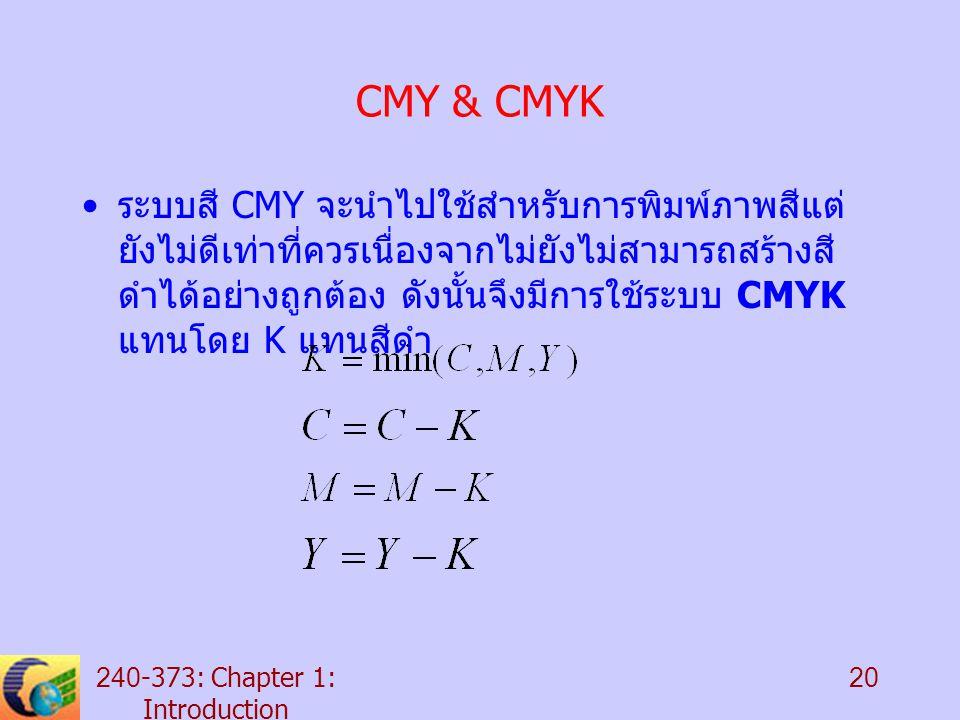 240-373: Chapter 1: Introduction 20 CMY & CMYK ระบบสี CMY จะนำไปใช้สำหรับการพิมพ์ภาพสีแต่ ยังไม่ดีเท่าที่ควรเนื่องจากไม่ยังไม่สามารถสร้างสี ดำได้อย่างถูกต้อง ดังนั้นจึงมีการใช้ระบบ CMYK แทนโดย K แทนสีดำ
