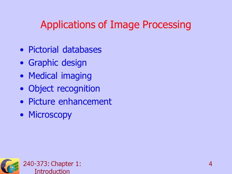 240-373: Chapter 1: Introduction 5 Digital Image Processing System Ima ge digiti zer Input image storage Comp uter Cons ole Output image storage Progra m library Ima ge recor der