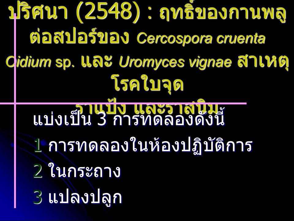 ปริศนา (2548) : ฤทธิ์ของกานพลู ต่อสปอร์ของ Cercospora cruenta Oidium sp. และ Uromyces vignae สาเหตุ โรคใบจุด ราแป้ง และราสนิม แบ่งเป็น 3 การทดลองดังนี