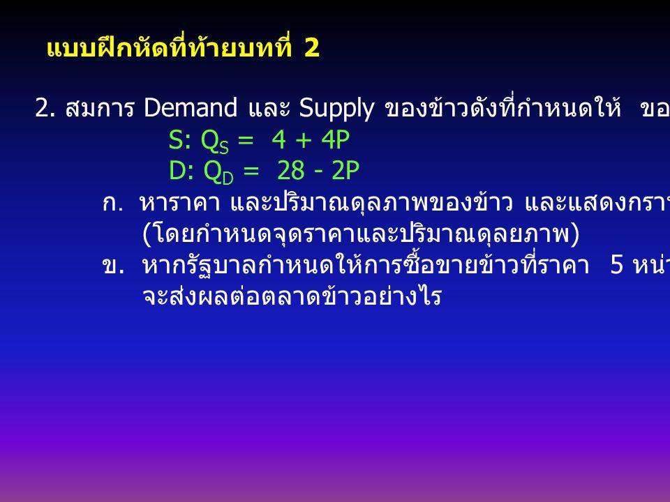 1. D & S ของข้าวสาลีดังนี้ Supply: Q S = 1800 + 240P Demand: Q D = 3550 - 266P ก. จงหา P และ Q ที่จุดดุลยภาพ หรือ P E, Q E ( พร้อมวาดรูปประกอบ ) ข. หา