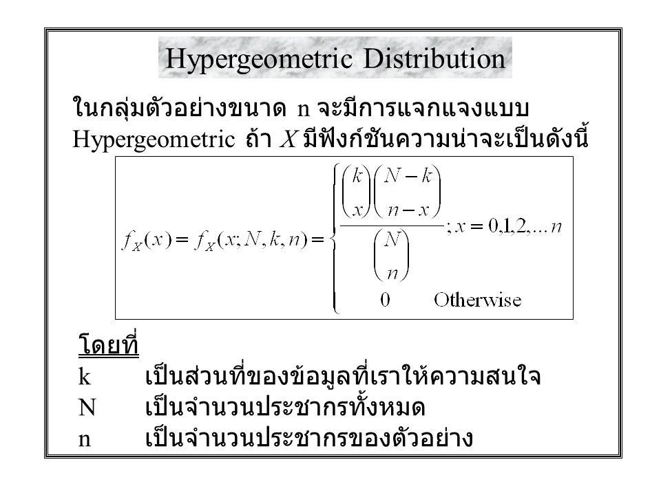 Hypergeometric Distribution ในกลุ่มตัวอย่างขนาด n จะมีการแจกแจงแบบ Hypergeometric ถ้า X มีฟังก์ชันความน่าจะเป็นดังนี้ โดยที่ k เป็นส่วนที่ของข้อมูลที่