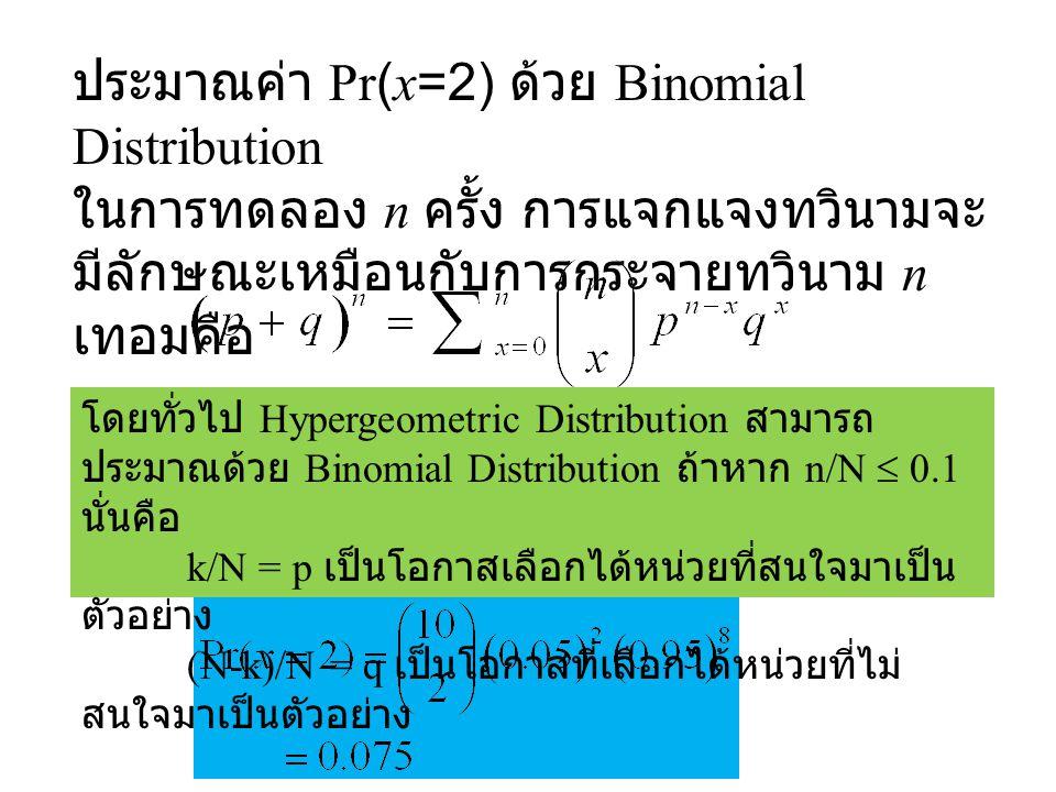 ประมาณค่า Pr(x=2) ด้วย Binomial Distribution ในการทดลอง n ครั้ง การแจกแจงทวินามจะ มีลักษณะเหมือนกับการกระจายทวินาม n เทอมคือ โดยทั่วไป Hypergeometric Distribution สามารถ ประมาณด้วย Binomial Distribution ถ้าหาก n/N  0.1 นั่นคือ k/N = p เป็นโอกาสเลือกได้หน่วยที่สนใจมาเป็น ตัวอย่าง (N-k)/N = q เป็นโอกาสที่เลือกได้หน่วยที่ไม่ สนใจมาเป็นตัวอย่าง