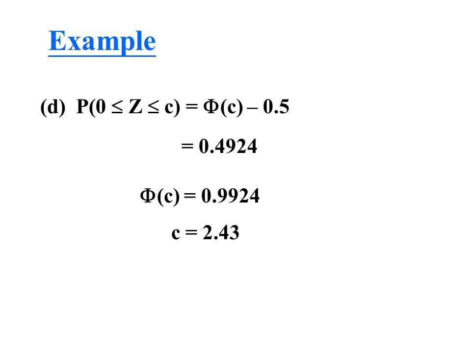 (d) P(0  Z  c) =  (c) – 0.5 = 0.4924  (c) = 0.9924 c = 2.43 Example